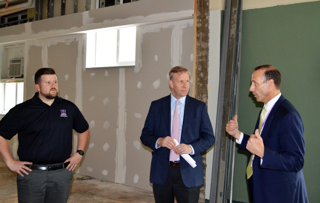 Checking out the new space are, from left, Hamburg Central technology integration specialist Patrick Wirth, state Sen. Christopher Jacobs and Hamburg Superintendent Michael Cornell. (Photo courtesy of state Sen. Christopher Jacobs)