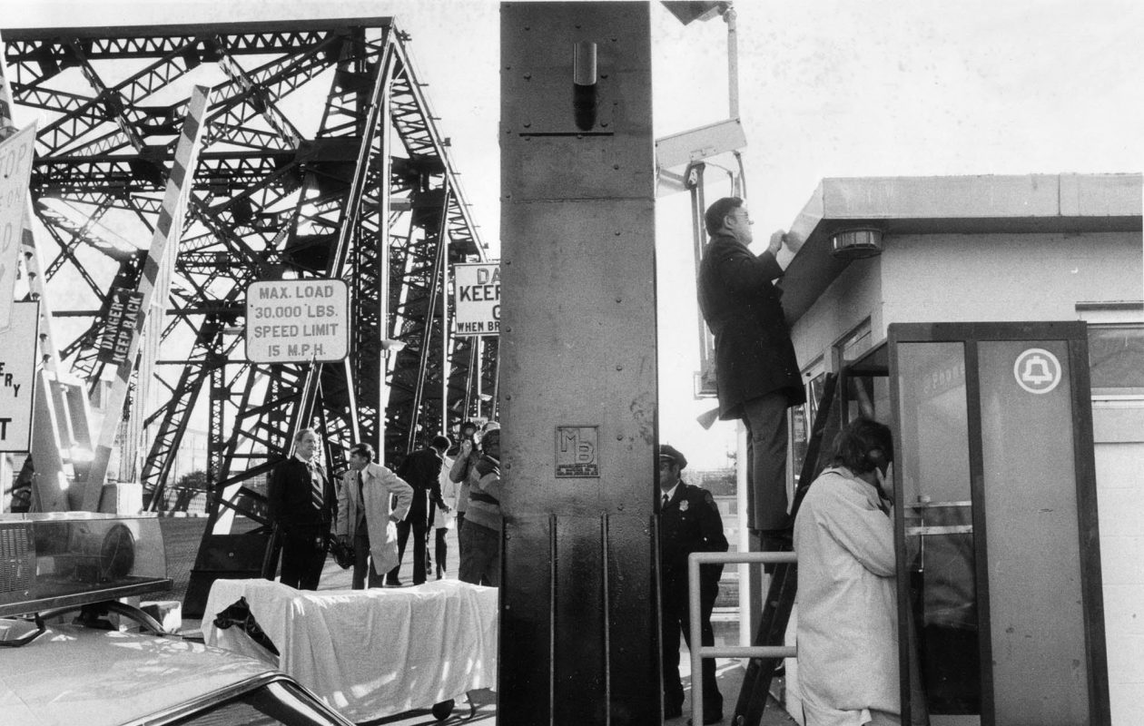 In 1978, investigators were at the scene at the Ferry Street lift bridge tender's shack, where James Hewson, lift operator, was found beaten to death. (News file photo)