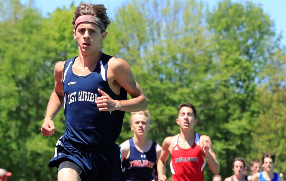 Ian Russ from East Aurora High School competes at the Section VI track championships at Strider Field on June 3, 2017. (Harry Scull Jr./News file photo)