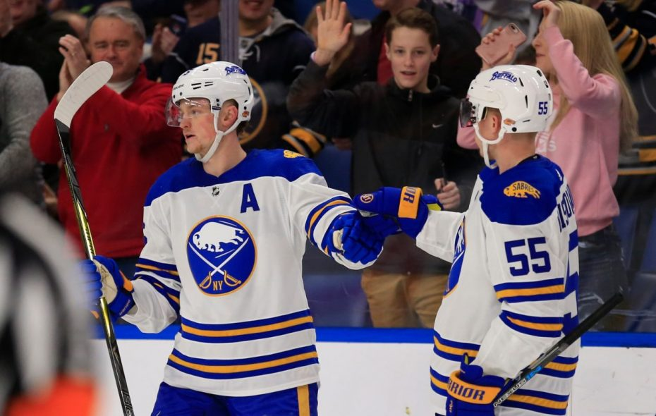 Jack Eichel, left, and Rasmus Ristolainen could be among the Sabres appearing in the Hockeyville game come September (Harry Scull Jr./News file photo).