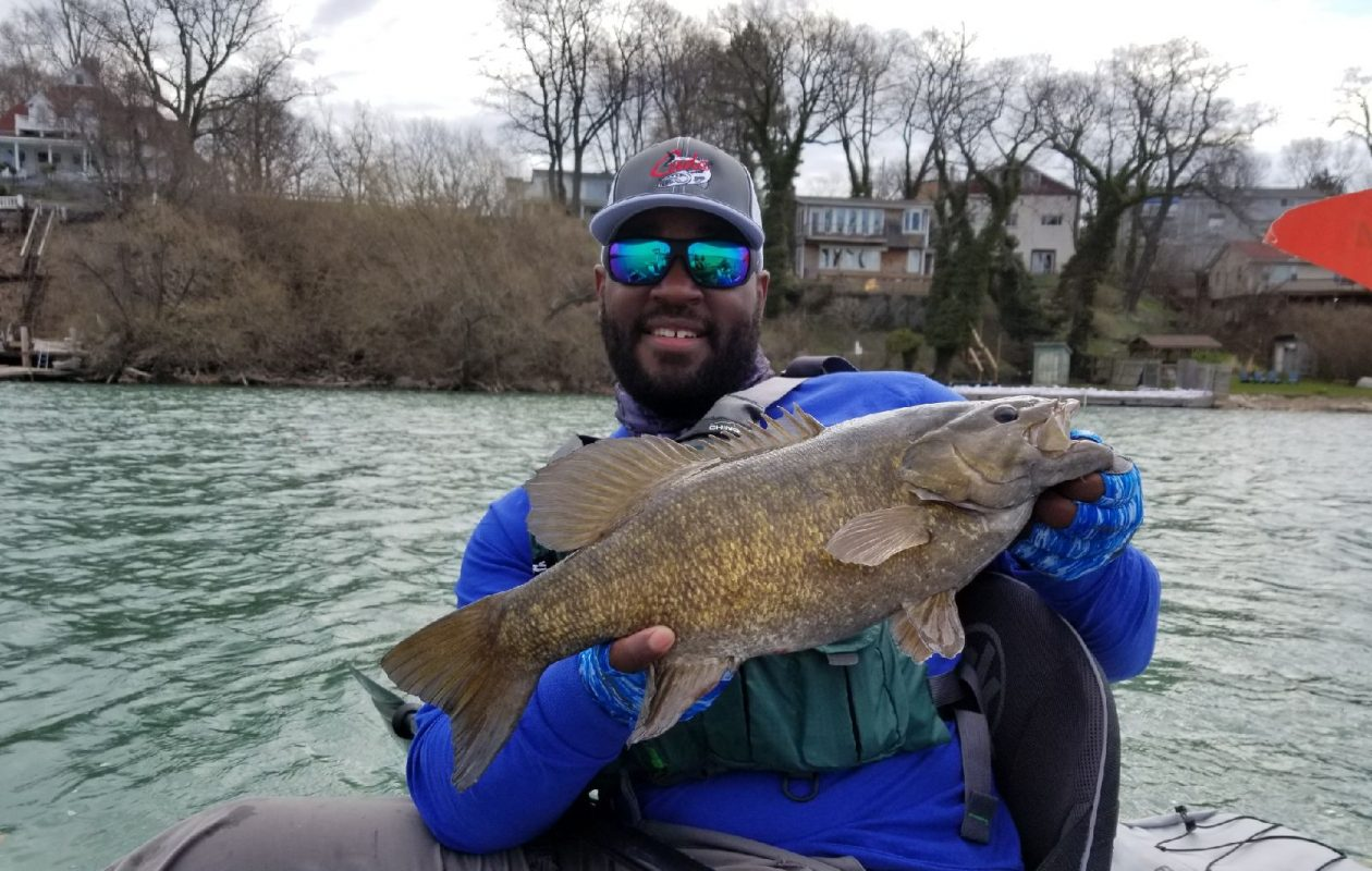 John Deshauteurs of Mississippi with his first smallmouth off the Jackson kayak in the lower river.