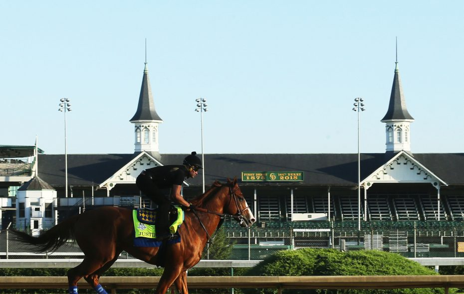 Justify resumed galloping at Churchill Downs on Thursday after the Preakness. Photo Credit: Churchill Downs