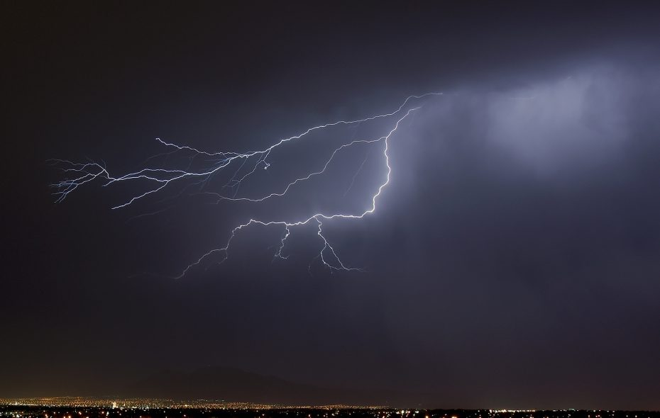 Cloud-to-cloud lightning flashes over Las Vegas in 2006. (Ethan Miller/Getty Images file photo)