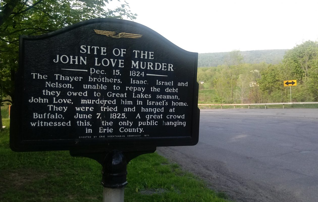 A sign in the Town of Boston describing the Boston Love murder. (Luke Hammill/Special to The News)