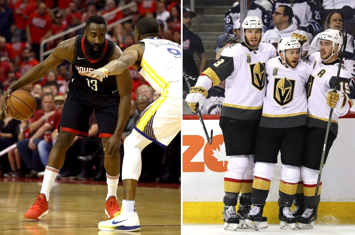 The Buffalo TV market has embraced both the NBA playoffs, with James Harden, left, and the NHL, where the expansion Vegas Golden Knights continue to take the league by storm. (Ronald Martinez/Getty Images)