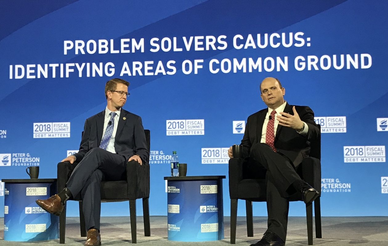 Rep. Derek Kilmer, D-Wash., and Rep. Tom Reed, R-Corning discuss the Problem Solvers Caucus in Washington this spring. The group is pushing reforms that would give more clout to members willing to find compromise solutions to national issues. (Jerry Zremski/Buffalo News)