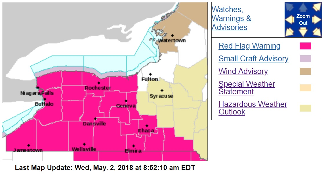 Warm temperatures, windy conditions and low humidity make the potential for wildfires across Western New York a real threat today, the National Weather Service said. (NWS Buffalo)