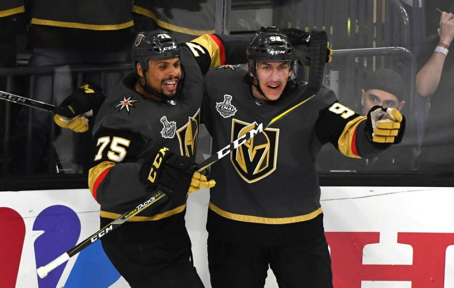 Ryan Reaves, left, celebrates with Tomas  Nosek after Nosek's tiebreaking goal in the third period Monday (Getty Images).