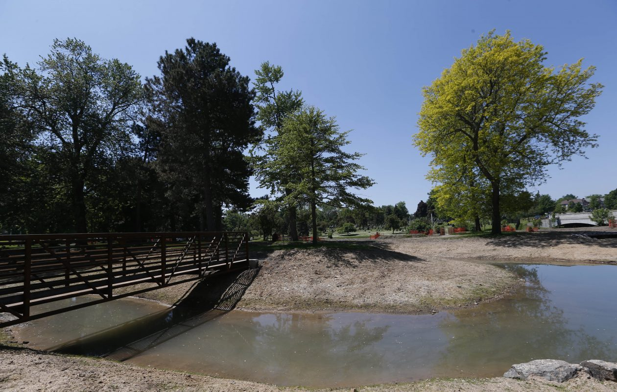 Lawmakers announced $300,000 each in state aid to support the Scajaquada Creek Restoration Project at Forest Lawn Cemetery. The funds will help pay for the construction of over 23,000 square feet of wetland area along the creek, part of a $2.8 million project. (Sharon Cantillon/Buffalo News)
