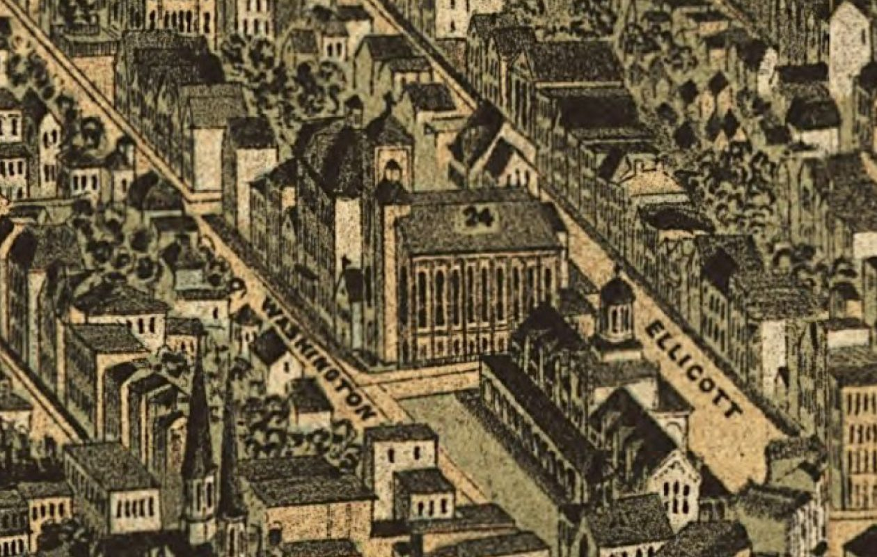 St. Michael Roman Catholic Church, No. 24 on the  1880 Hutchinson map of Buffalo.