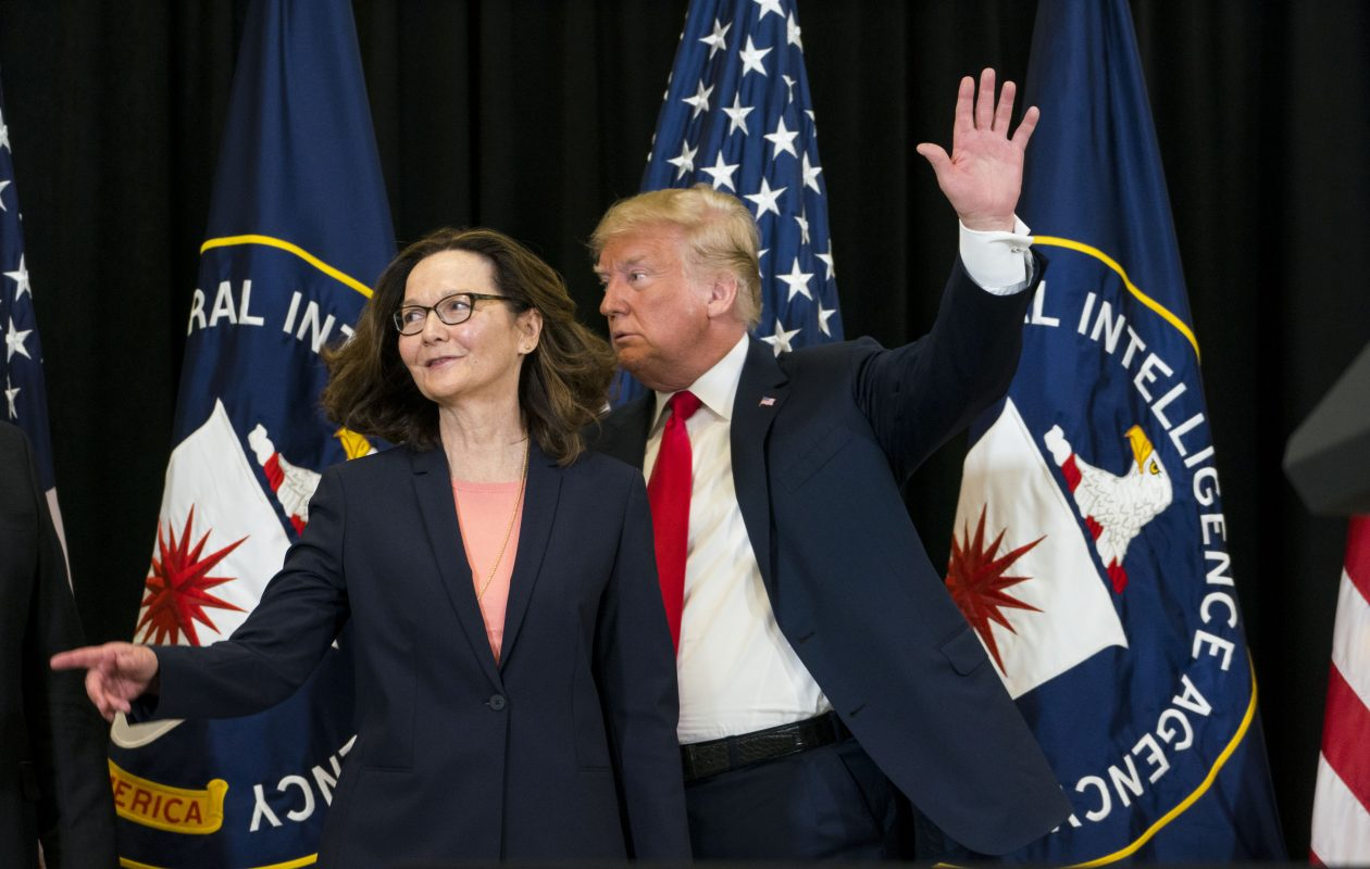 President Trump and incoming CIA Director Gina Haspel after she was sworn in, during a ceremony at the CIA headquarters in Langley, Va., May 21, 2018. (Doug Mills/New York Times)
