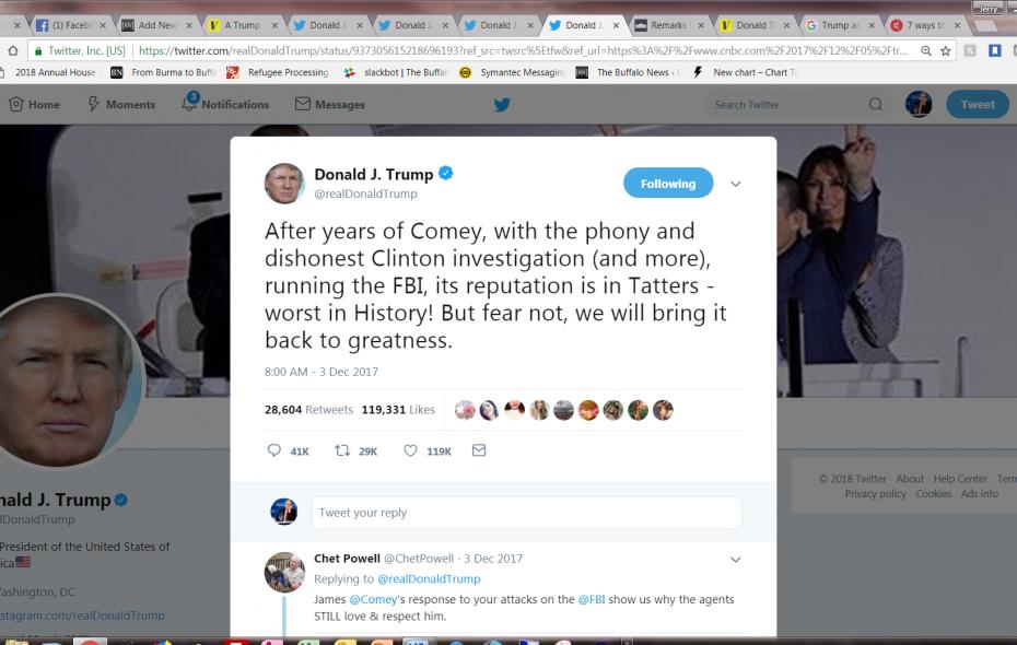 President Trum praises law enforcement -- but his tweets disparage the FBI.