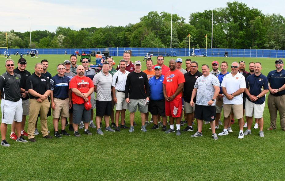 Buffalo Bills coach Sean McDermott greeted a group of Section VI and Monsignor Martin football coaches after inviting them to watch an OTA session on May 31, 2018. (Photo courtesy of Buffalo Bills).