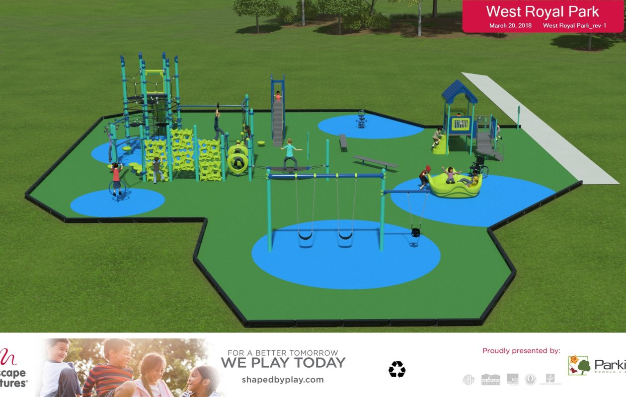 A rendering of the new playground planned for West Royal Park in Amherst.