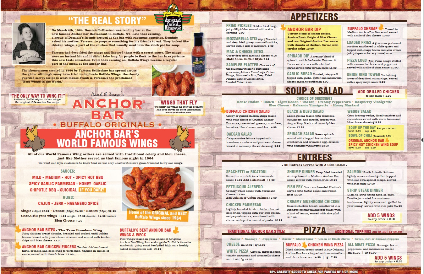 Authentic wings in the big apple anchor bar nyc sets - Carte restaurant buffalo grill ...