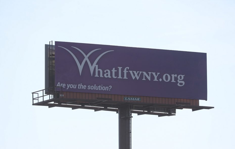 A billboard advertising a website, WhatIfWNY.org, is visible from the outbound Kensington Expressway in Buffalo. (John Hickey/Buffalo News)