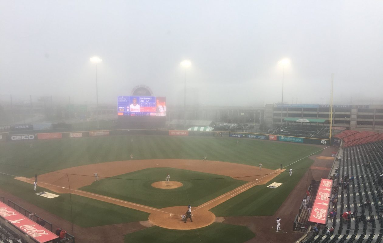 Despite a heavy fog, the Bisons pulled out a win against Syracuse. (Amy Moritz/Buffalo News)