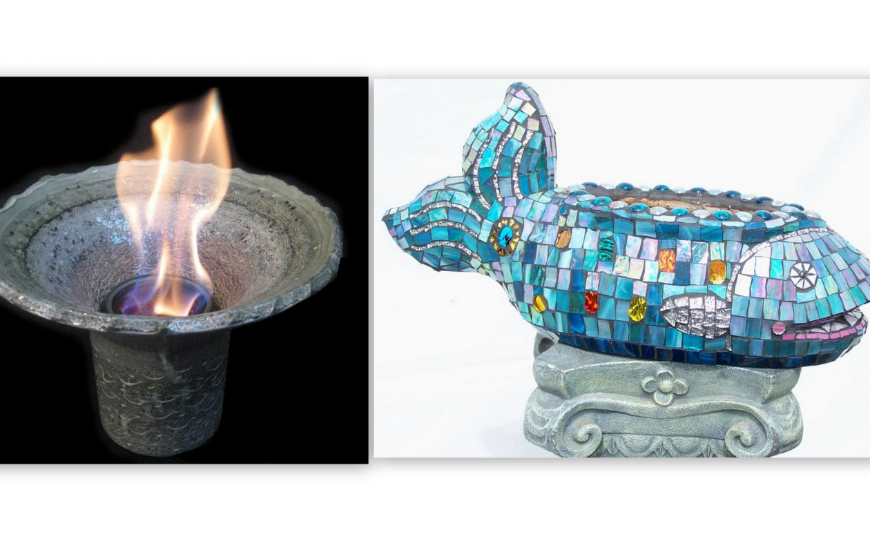 Patio flames by Mark Kuzio and mosaics by Joy Duszynski are expected to be popular items at this year's Allentown Art Festival.