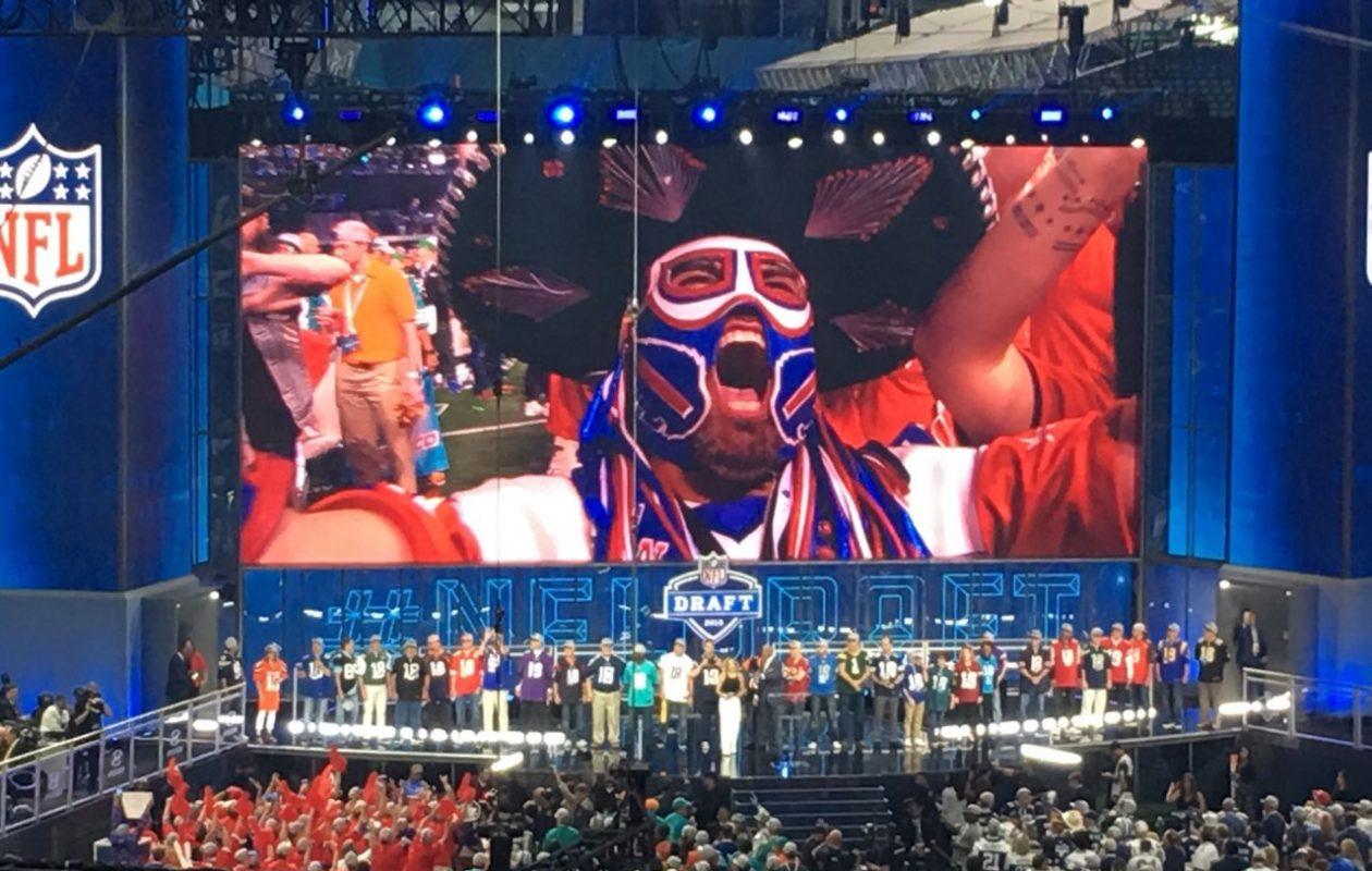 Pancho Billa, on the big screen: Ezra Castro made his presence felt at last week's NFL Draft. (Image courtesy Ezra Castro)