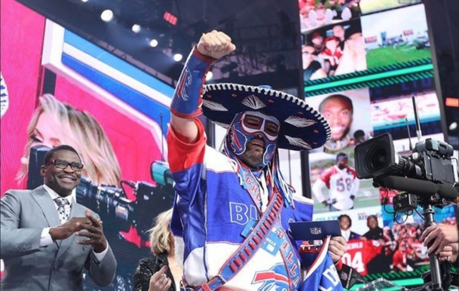 Pancho Billa on stage at the NFL draft in April 2018. (Photo courtesy of Ezra Castro)