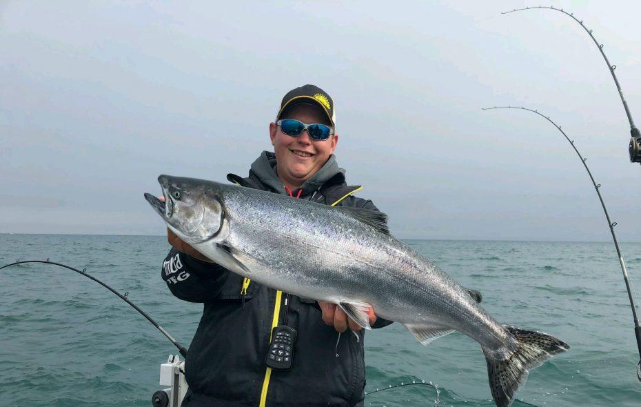 Jake Romanack with a Lake Ontario salmon.