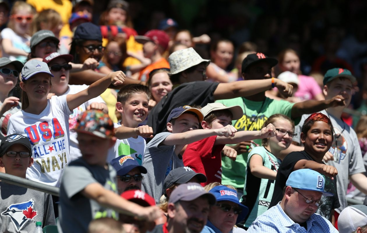A crowd of more than 16,000 was on hand for the Bisons' 2016 Kids Day game. (James P. McCoy/News file photo)