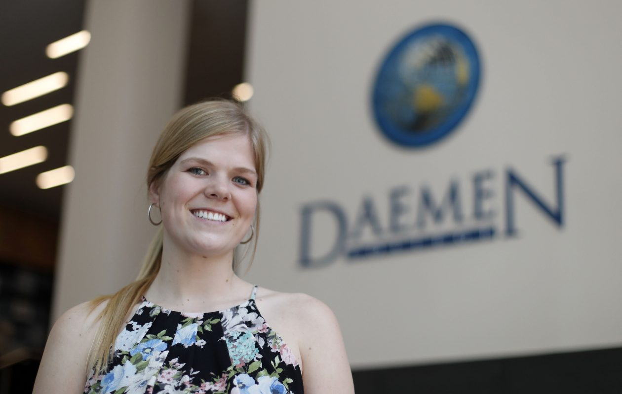 Lea Sobieraski walked the stage at Daemen College in Amherst and received a master's degree Saturday, more than five years after the liver transplant that saved her life. (Mark Mulville/Buffalo News)