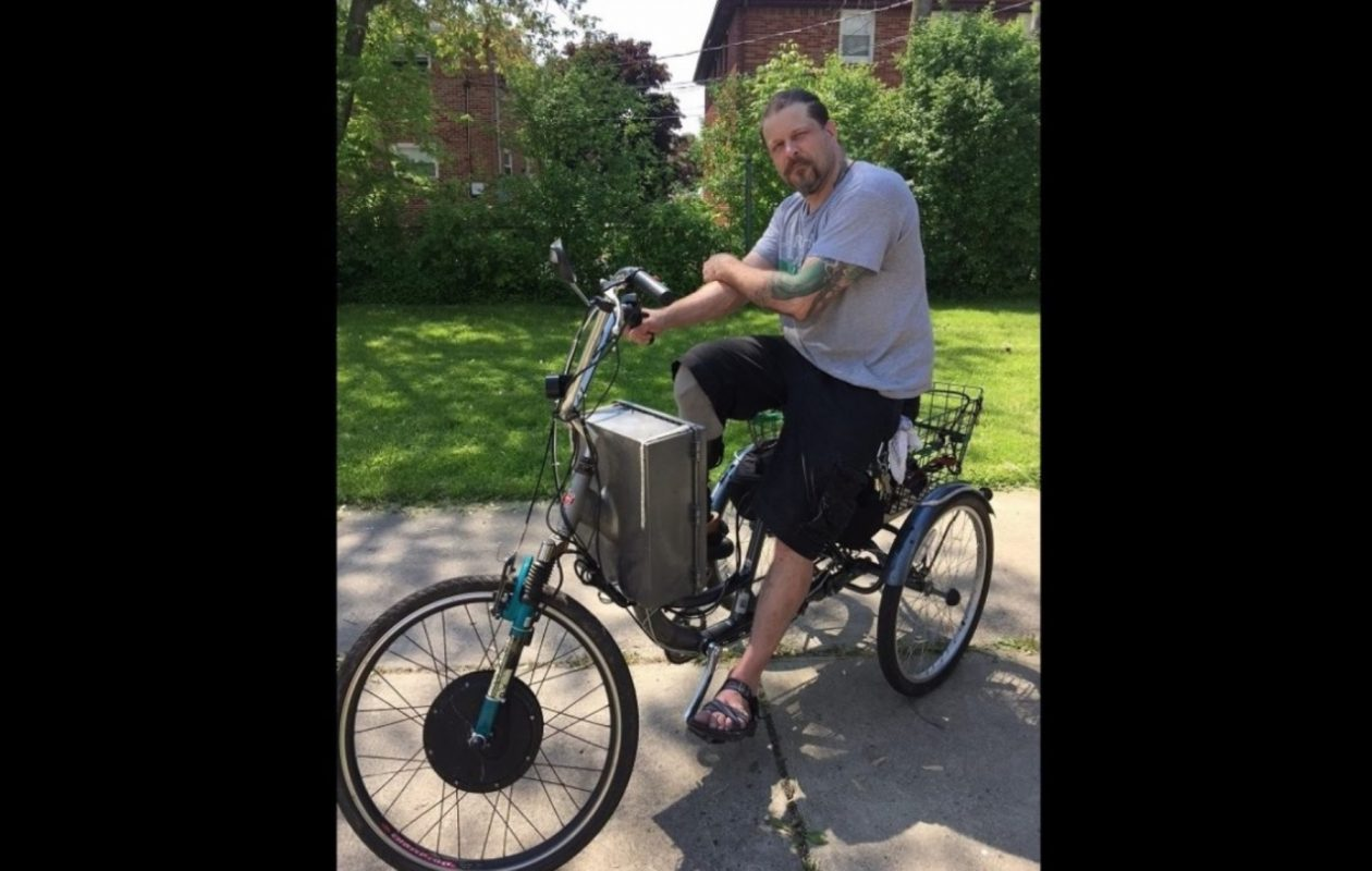 Bryan Nielsen prepares for a test run on his motor trike that was recovered after being stolen Thursday from a grocery store bike rack. (Jane Kwiatkowski Radlich/Buffalo News)