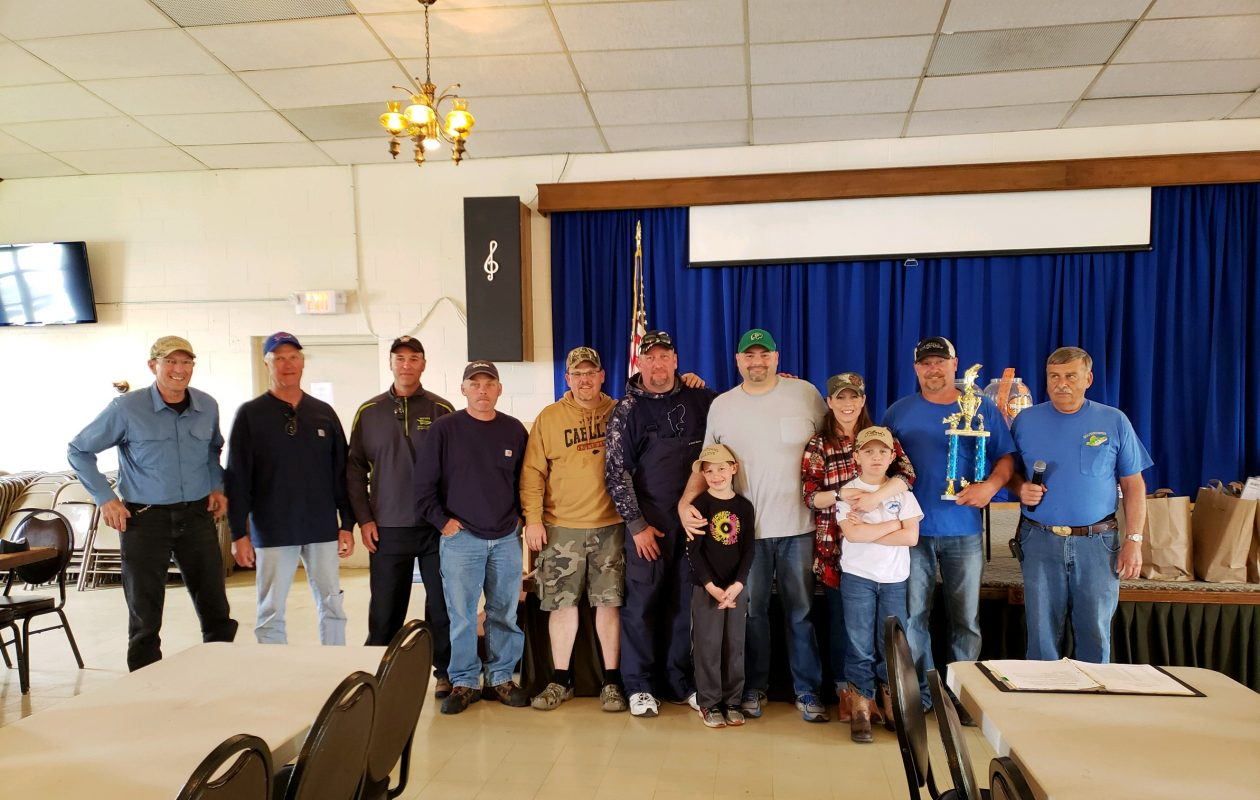 Top finishers in the Southtowns Walleye perch  contest, from left:  Dave Bieganski, Mark Mohr, Morris Fried, Tom Slawatycki, Anthony Quick, Don Ruppert, John Gaul and his son Jack, Kelly Schmitt and her son Garrett, and Joe Jemiolo. Also pictured is Jerry Lesinski, contest coordinator for SWA.