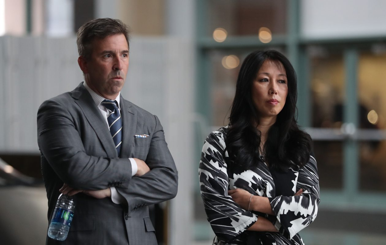 Sabres President Russ Brandon and co-owner Kim Pegula look on during last April's news conference to address the firings of General Manager Tim Murray and coach Dan Bylsma. (Sharon Cantillon/Buffalo News)