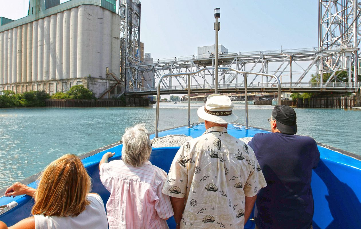 Get a new perspective on Buffalo history and landmarks, like the silos, by water. (Sharon Cantillon)