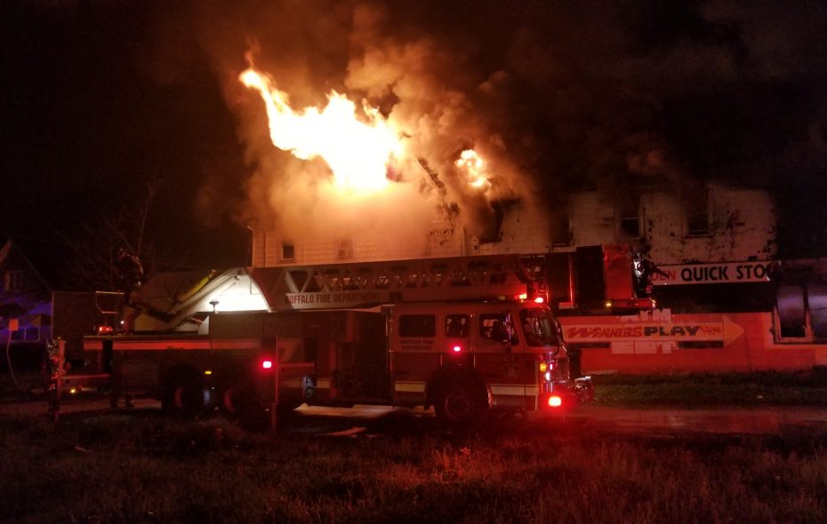 Buffalo firefighters battle an overnight blaze Tuesday, May 15, at 243 Walden Ave. No one was injured. (David F. Kazmierczak/Special to the News)