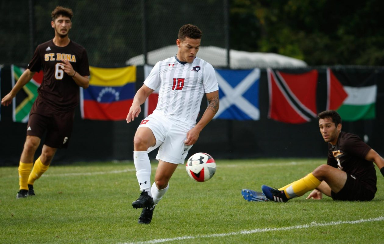 Keane McIvor, in white, is pictured playing for Robert Morris University. He's made a significant difference for FC Buffalo since being cleared to play three games ago. (via Robert Morris)
