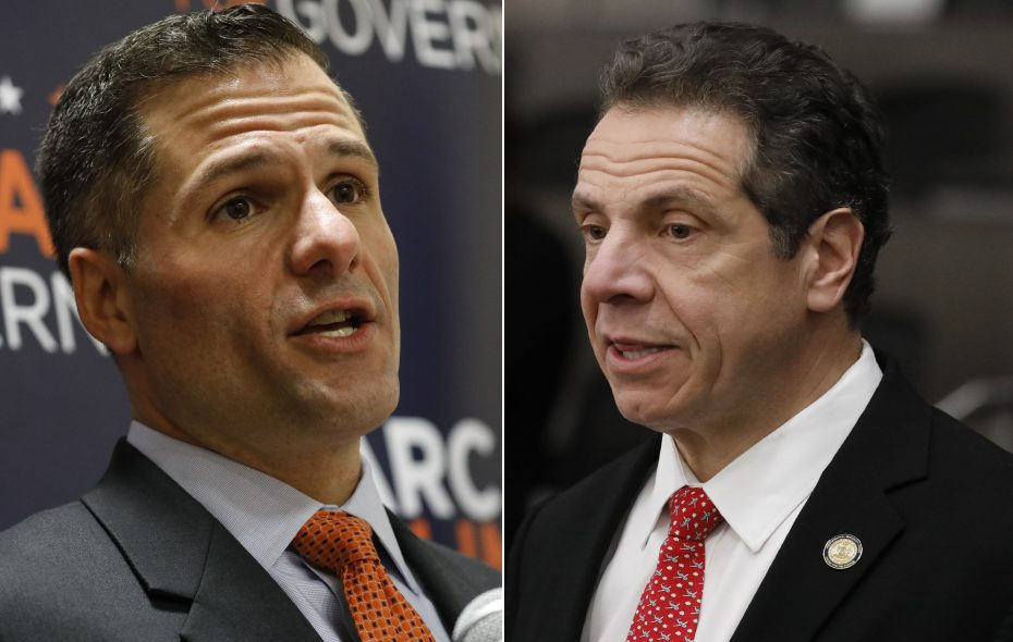 Republican Dutchess County Executive Marc Molinaro, left, challenged Democratic incumbent Gov. Andrew Cuomo, right. (Derek Gee/News file photos)