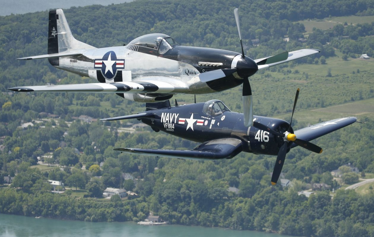 Two fighter planes fly over WNY to promote the Thunder of Niagara Air Show. (Derek Gee/Buffalo News)