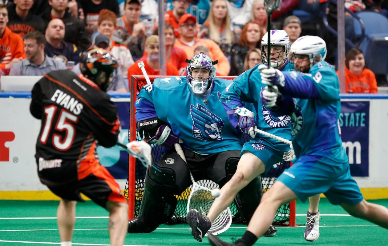 Buffalo Bandits' Shawn Evans is stopped by Rochester Knighthawks goaltender Matt Vinc during first half action at KeyBank Center on Saturday April 28, 2018. (Harry Scull Jr./Buffalo News)