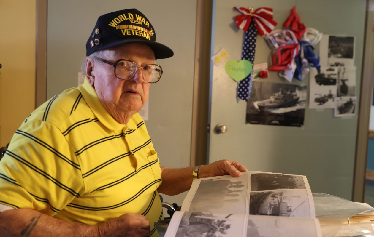 The memories are still fresh for Navy veteran Clayton J. Burden, who manned the guns on a landing craft support ship that helped clear the way for troops storming Pacific islands that saw some of the heaviest fighting of World War II. (John Hickey/Buffalo News)