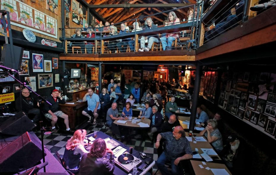 The scene in Sportsmen's Tavern for the first Gusto Vinyl Happy Hour, in May.  (Harry Scull Jr./News file photo)