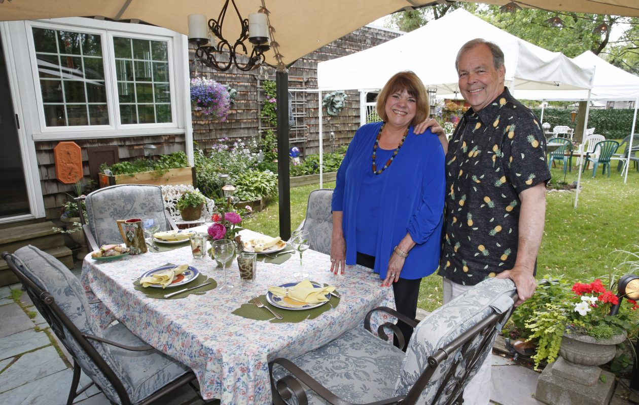 Michael and Sandy Starks in their garden. (Robert Kirkham/Buffalo News)