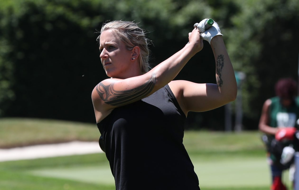 Zoe-Beth Brake tees off on the tenth tee during the Final round of the Women's Porter Cup at Niagara Falls Country Club in Niagara Falls, N.Y. on Friday, June 15, 2018.  James P. McCoy/Buffalo News