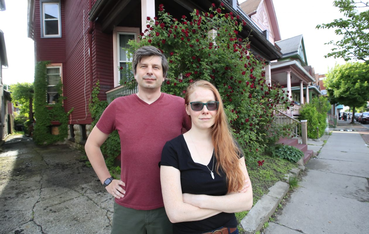 Robert and Julie Maefs stand outside their Elmwood Avenue home, which has become a mecca for public urination at all hours of the day and night. (Harry Scull Jr./Buffalo News)