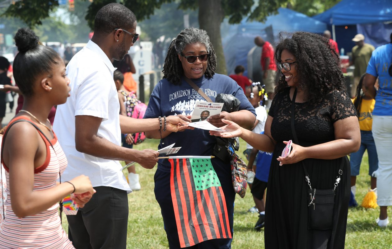 Jumaane Williams greets people during a recent campaign stop at Juneteenth Festival festivities at Martin Luther King Jr. Park in Buffalo.   (James P. McCoy/Buffalo News)