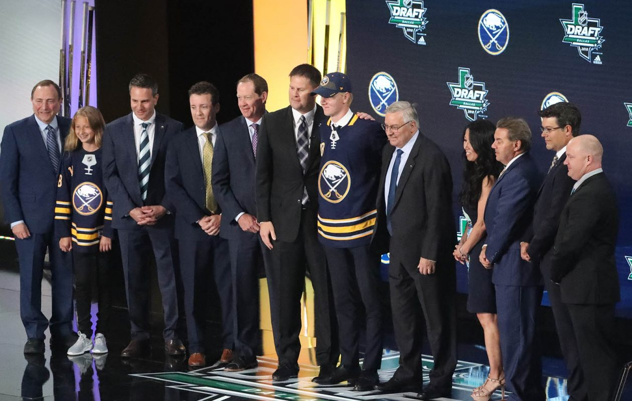 Sabres defenseman Rasmus Dahlin goes from the draft stage to the ice this week. (James P. McCoy/Buffalo News)