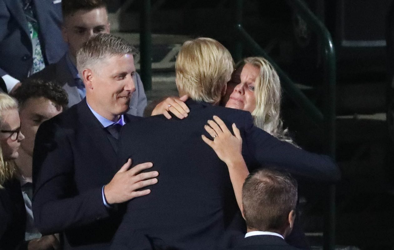 Rasmus Dahlin hugs his mother after being picked in the draft. (James P. McCoy/Buffalo News)