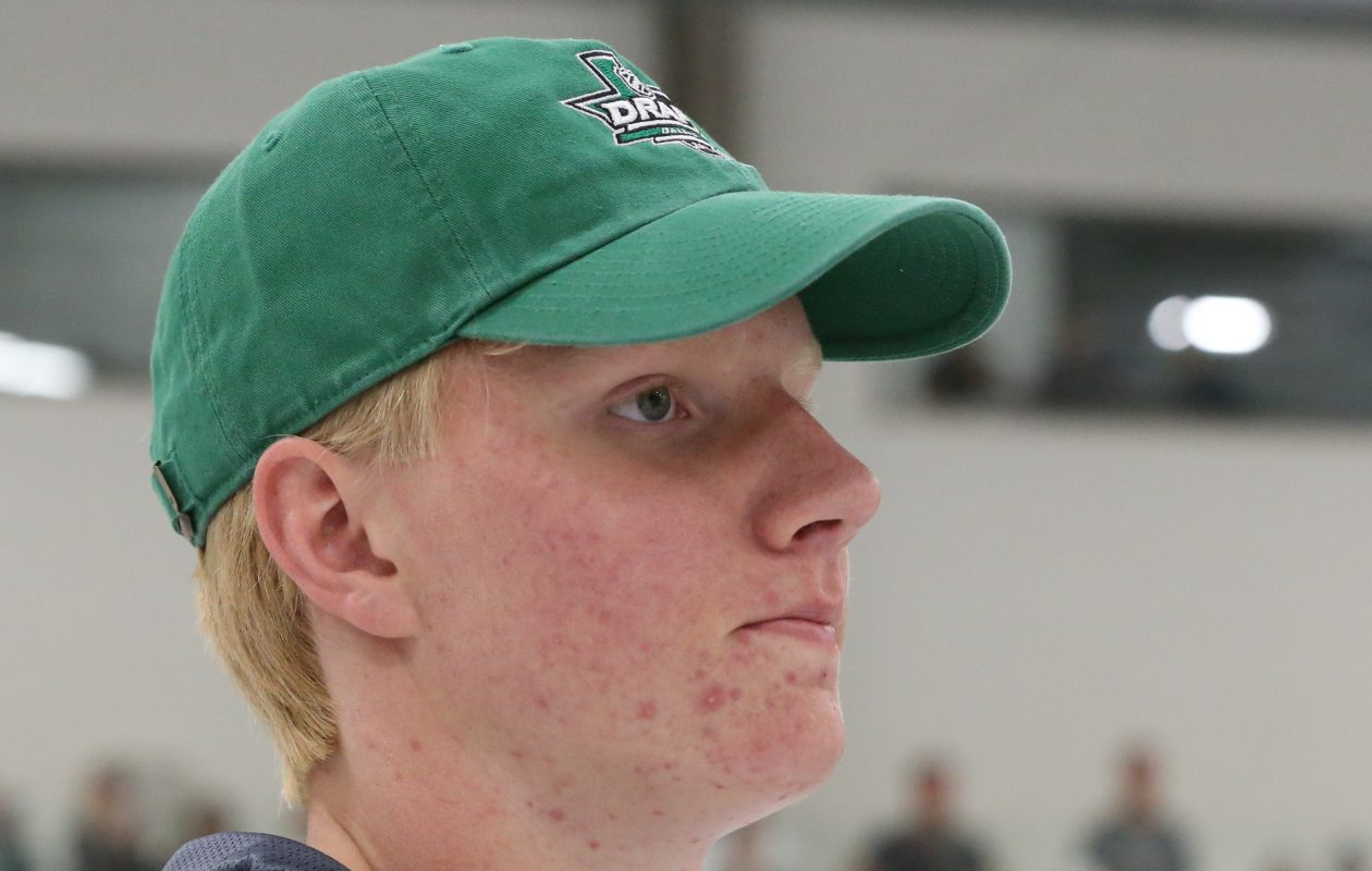 Rasmus Dahlin hits the ice with the Sabres for the first time on Wednesday. (James P. McCoy/Buffalo News)