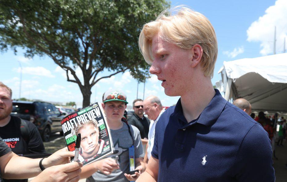 Rasmus Dahlin participated in a ball hockey clinic at Dr Pepper StarCenter in Farmers Branch, Texas, on Thursday, June 21, 2018. (James P. McCoy/Buffalo News)