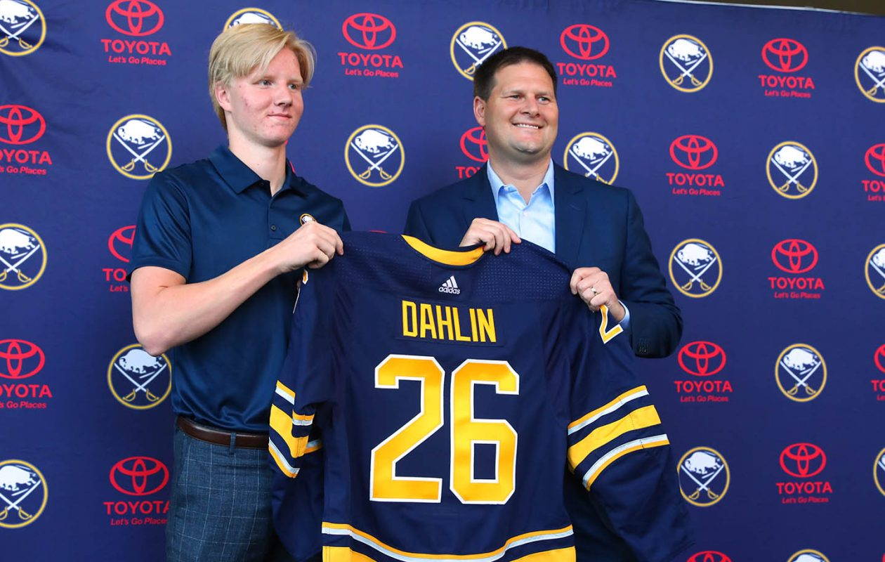 Rasmus Dahlin will don his No. 26 jersey against NHL prospects on Sept. 7 in HarborCenter. (John Hickey/Buffalo News)