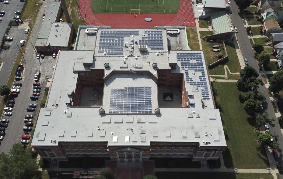 Bennett High School on Main Street is one of 19 Buffalo Public Schools that have installed solar roof panels. (John Hickey/Buffalo News)