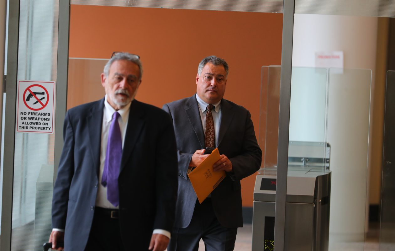 Former State Sen. Marc Panepinto, right, leaves federal court last year with his  attorney. He was later sentenced to two months in jail for trying to buy the silence of a female staff member to whom he had made unwanted advances. (John Hickey/News file photo)
