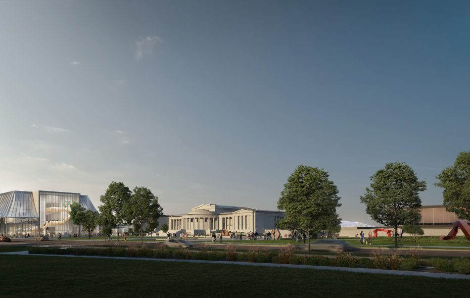 A new concept for the Albright-Knox Art Gallery's expansion features a ziggurat-shaped building on the northwest side of the campus.